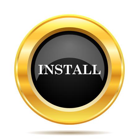 Install icon. Internet button on white background.  photo