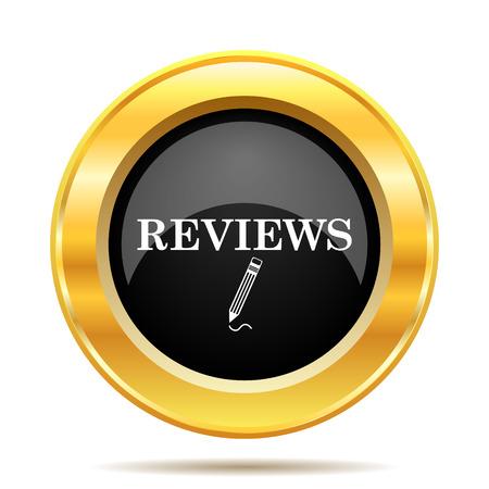 Reviews icon. Internet button on white background.  photo