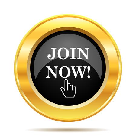 Join now icon. Internet button on white background.  photo