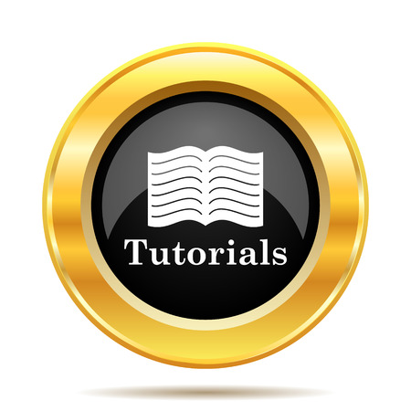 tutoriels: Tutorials icon. Internet button on white background.  Banque d'images