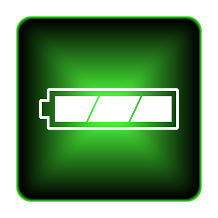 Fully charged battery icon. Internet button on white background.