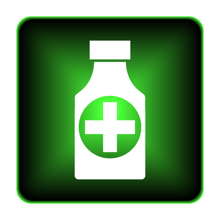 botle: Pills bottle  icon. Internet button on white background.