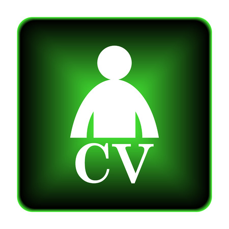 cv: CV icon. Internet button on white background.