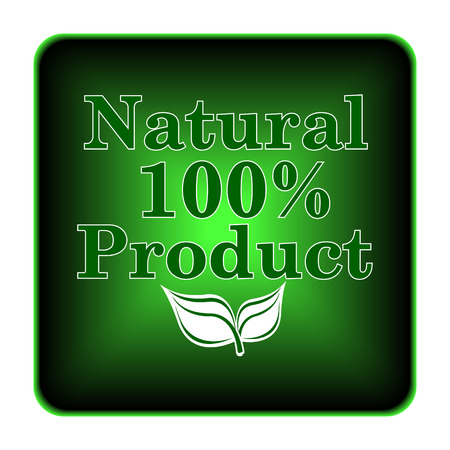 product icon: 100 percent natural product icon. Internet button on white background.  Stock Photo