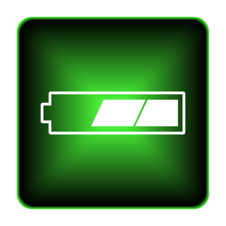 2 thirds charged battery icon. Internet button on white background.  photo
