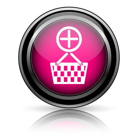 Add to basket icon. Internet button on white background. photo