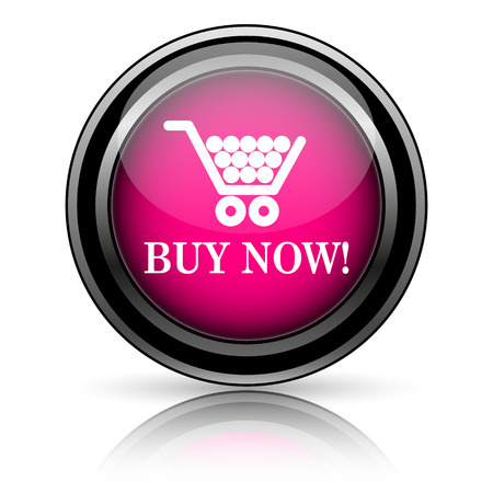 Buy now shopping cart icon. Internet button on white background. photo