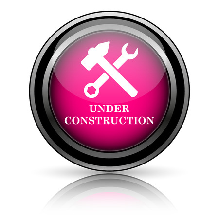 Onder constructie pictogram. Internet-knop op witte achtergrond. Stockfoto