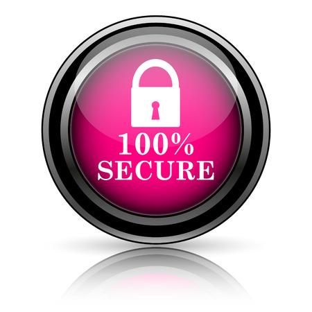 reassurance: 100 por ciento icono seguro. Bot�n de Internet sobre fondo blanco.