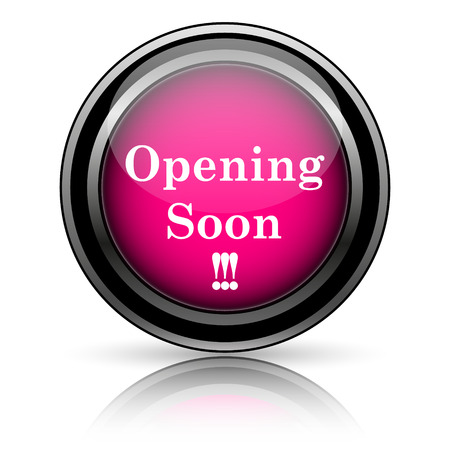 Opening soon icon. Internet button on white background. photo