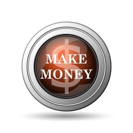 Make money icon. Internet button on white background. photo