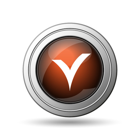 V checked icon. Internet button on white background. photo