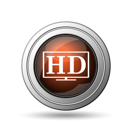 HD TV icon. Internet button on white background. photo