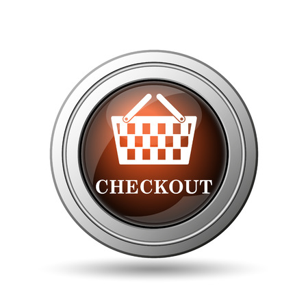 checkout button: Checkout icon. Internet button on white background.