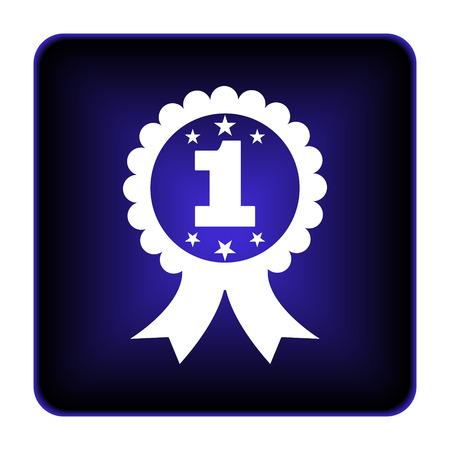 First prize ribbon icon. Internet button on white background. photo