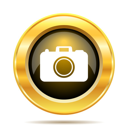 Photo camera icon. Internet button on white background. photo
