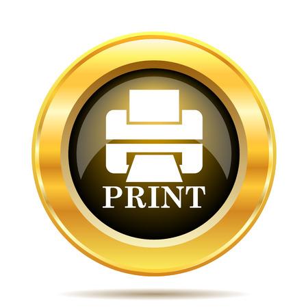 Printer with word PRINT icon. Internet button on white background. photo