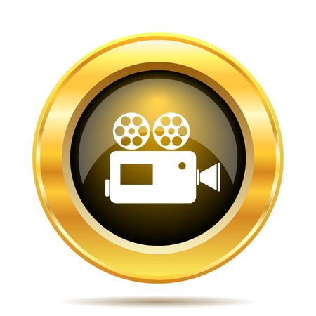 Video camera icon. Internet button on white background. photo