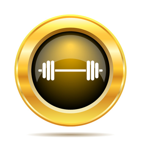 Weightlifting icon. Internet button on white background. photo