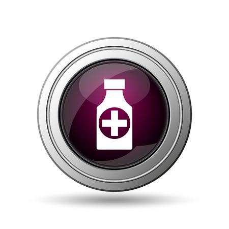 botle: Pills bottle  icon. Internet button on white background. Stock Photo