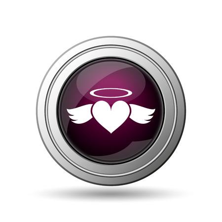 Heart angel icon. Internet button on white background. photo