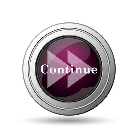 Continue icon. Internet button on white background. photo