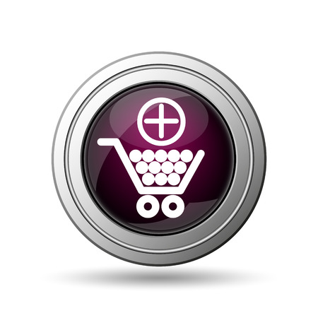 Add to shopping cart icon. Internet button on white background. photo