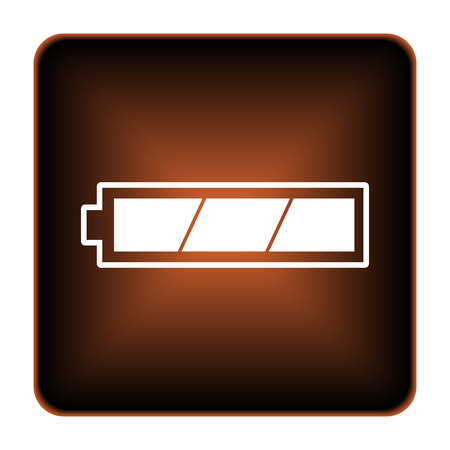 Fully charged battery icon. Internet button on white background. photo