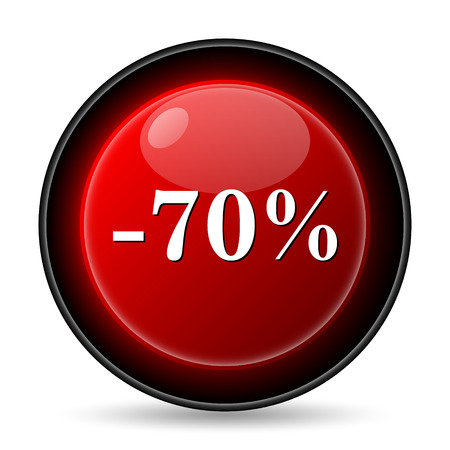 70 percent discount icon. Internet button on white background. photo