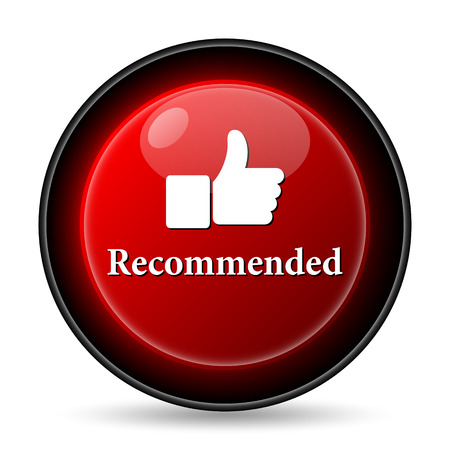 recommendations: Recommended icon. Internet button on white background. Stock Photo