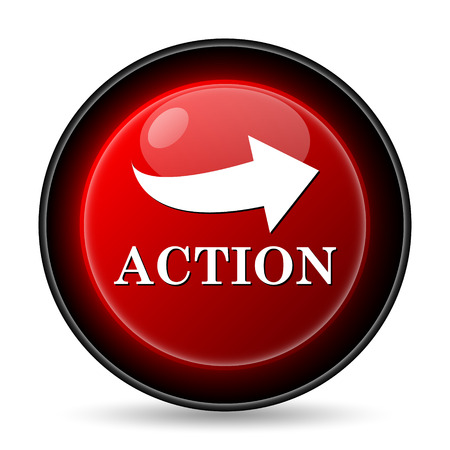 take action: Action icon. Internet button on white background.