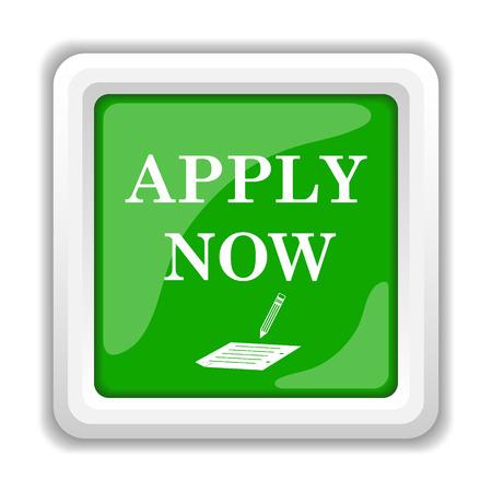 apply now: Apply now icon. Internet button on white . Stock Photo
