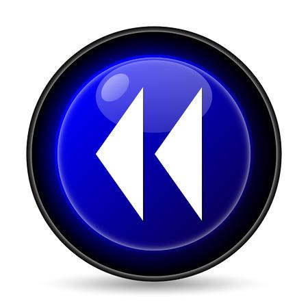 rewind icon: Rewind icon. Internet button on white background. Stock Photo