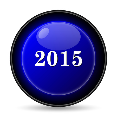 Year 2015 icon. Internet button on white background. photo