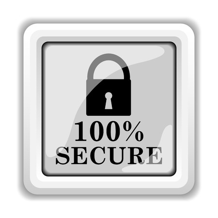 100 percent secure icon. Internet button on white background. Stock Photo