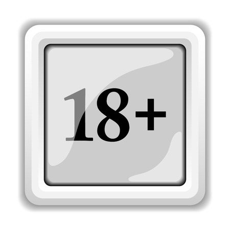 18 plus icon. Internet button on white background. photo