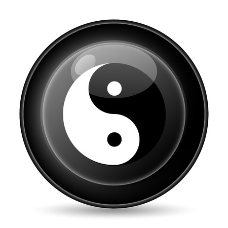 Ying yang icon. Internet button on white background. photo