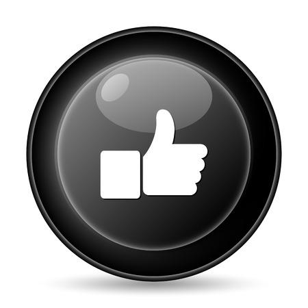 Thumb up icon. Internet button on white background. photo