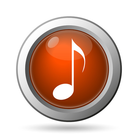 Musical note icon. Internet button on white background. photo
