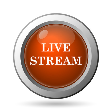 news cast: Live stream icon. Internet button on white background. Stock Photo