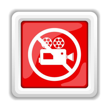 Forbidden video camera icon. Internet button on white background. photo
