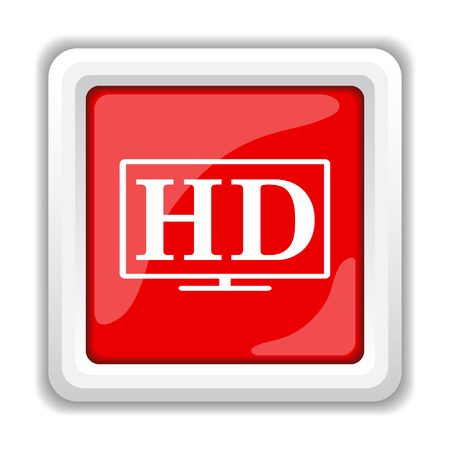 hd: HD TV icon. Internet button on white background.