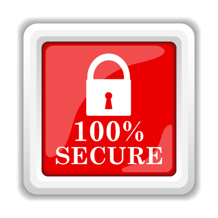 trustworthy: 100 percent secure icon. Internet button on white background. Stock Photo