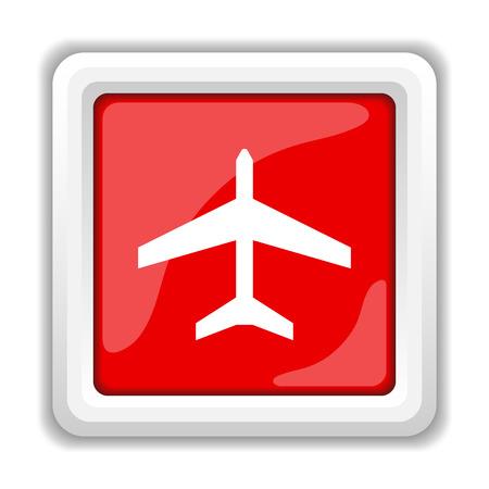 air port: Plane icon. Internet button on white background. Stock Photo