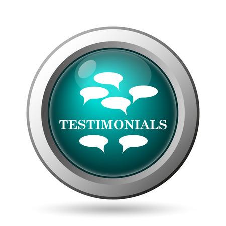 testimony: Testimonials icon. Internet button on white background.