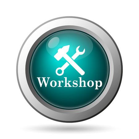 workshop seminar: Workshop icon. Internet button on white background.