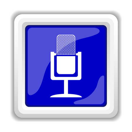 podcasting: Microphone icon. Internet button on white background.