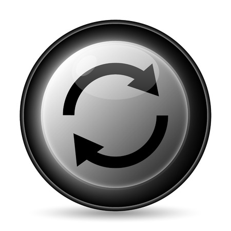 Reload two arrows icon. Internet button on white background. Stock Photo