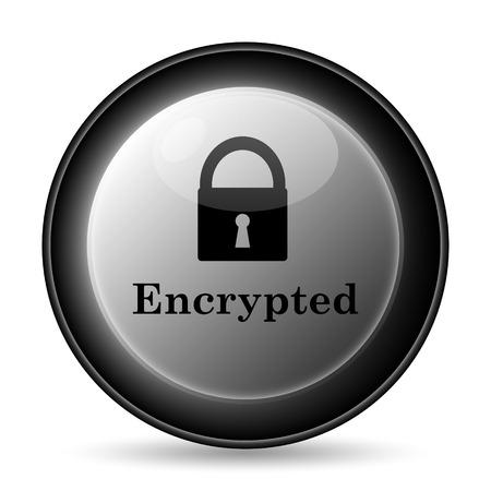 encrypted: Encrypted icon. Internet button on white background. Stock Photo