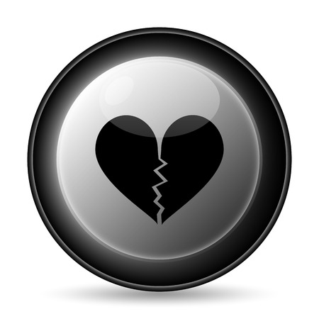 Broken heart icon. Internet button on white background. photo